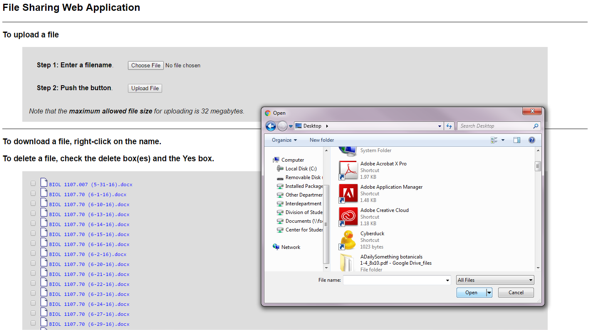Step 5: Browse for your class notes file on your computer and click Open to continue.
