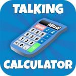 """A picture of a calculator with the words """"Talking Calculator"""" written around it."""